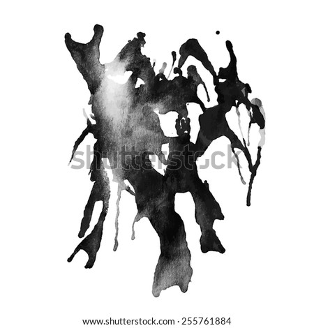 Vector illustration: abstract grungy black ink blot - stock vector