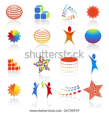 Vector illustration. Abstract icons set. - stock vector