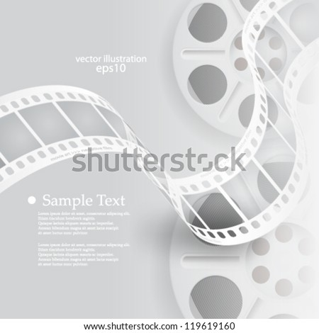 Vector illustration abstract monochromatic film reel concept background - eps10 - stock vector