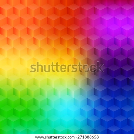 Vector illustration - abstract multicolored background with simple geometric shapes - a rhombus, hexagon, a cube with three-dimensional effect.