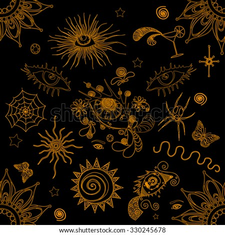 Vector illustration, abstract pattern with flower and eyes, golden collection, card concept. - stock vector
