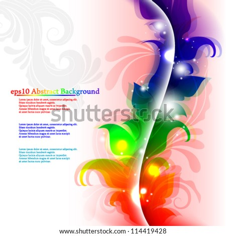 Vector illustration abstract rainbow floral background - eps10 - stock vector