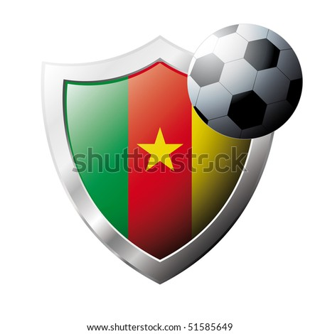 Vector illustration - abstract soccer theme - shiny metal shield isolated on white background with flag of Cameroon