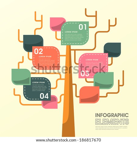vector illustration abstract tree leaf infographics design - stock vector