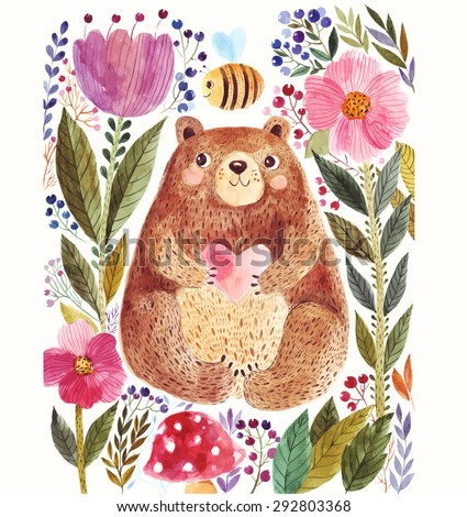 Vector illustration: adorable bear in watercolor technique. Beautiful card with cute little bear. - stock vector