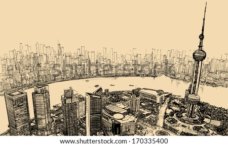 Vector illustration - aerial view of Shanghai above the river - stock vector