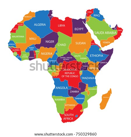 africa map with names of countries