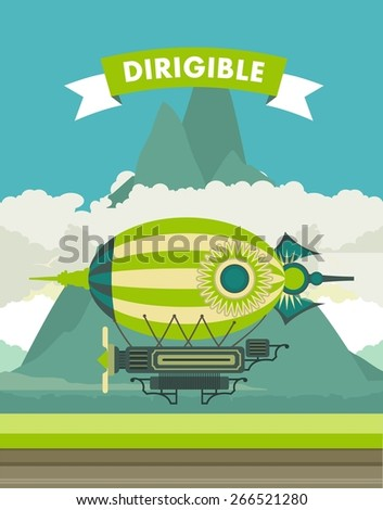 vector illustration aircraft airship on nature background mountains - stock vector