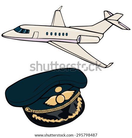 Vector illustration, airplane, pilot cap, cartoon concept, white background.