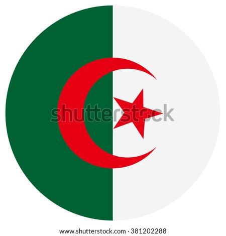 Vector illustration Algeria flag vector icon. Round national flag of Algeria. Algeria flag button - stock vector