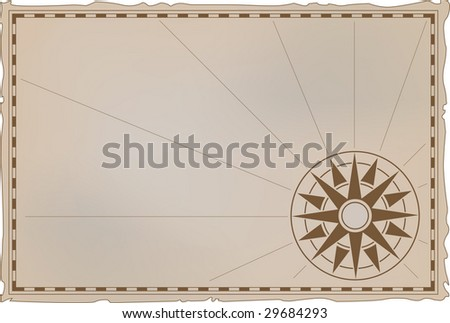 Vector illustration - an ancient card with a wind rose compass - stock vector