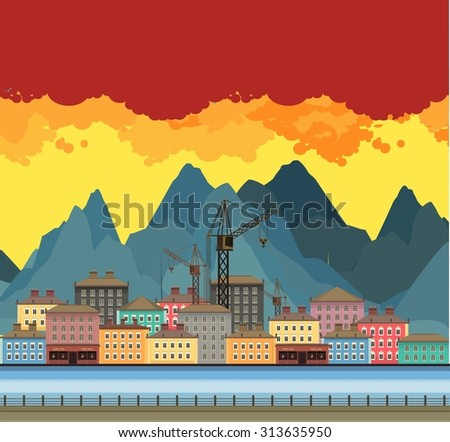 Vector illustration an evening panorama proud mountains in the background near the river in a flat style - stock vector