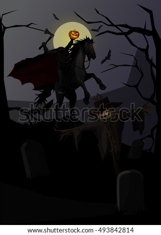 Vector Illustration and Cartoon : Ghost Knight Headless Horseman in legend and Pumpkin Scarecrow On dark background Halloween.