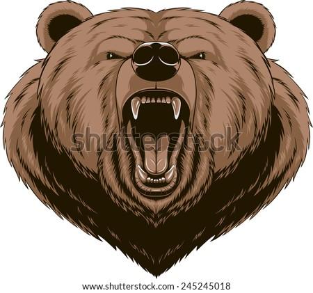Vector illustration, Angry bear head mascot - stock vector
