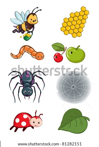 Vector illustration, animals habitat, cartoon concept, white background.