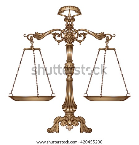Vector illustration antique ornate balance scales isolated on white background. Justice and making decision concept. Even odds, being in balance. - stock vector