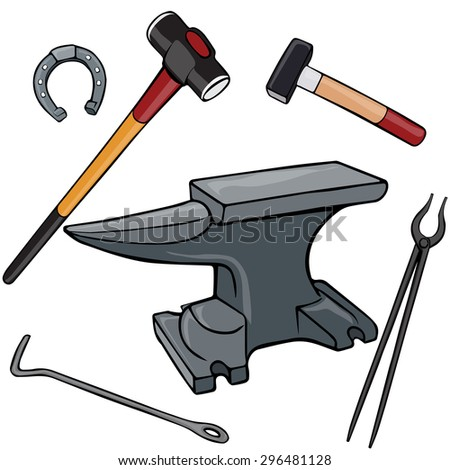 Vector illustration, anvil and tools, cartoon concept, white background.