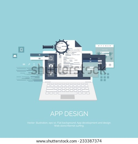 Vector illustration. App design.  Flat computing background. Programming and coding. Web development and search. Search engine optimization. Innovation and technologies. Mobile app. - stock vector