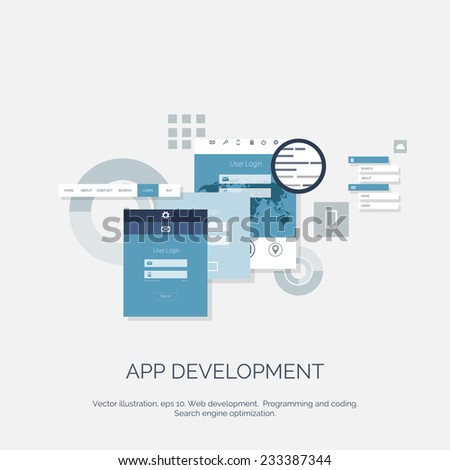 Vector illustration. App development. Flat computing background. Programming and coding. Web development and search. Search engine optimization. Innovation and technologies. Mobile app. - stock vector