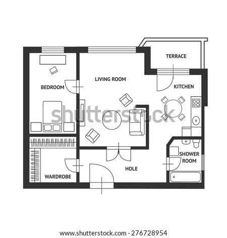 Vector illustration. Architect plan of house with a furniture. Flat Design - stock vector