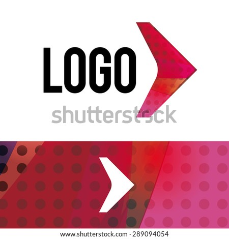 vector illustration arrow logo made in the geometric style of concept ideas for creative companies - stock vector