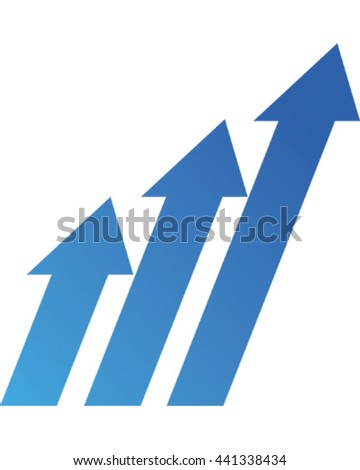 Vector Illustration Arrows showing growth. Business Icon.  - stock vector