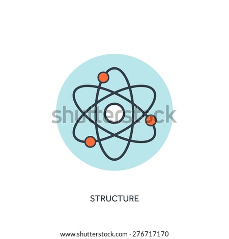 Vector illustration. Atom, molecule icon. - stock vector
