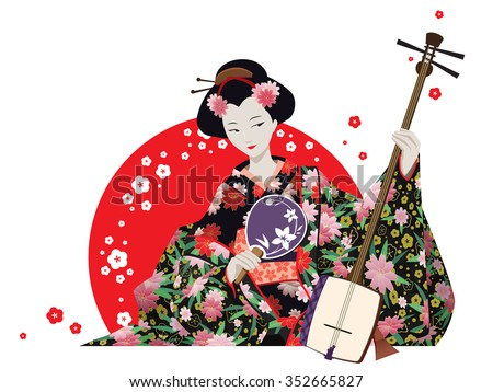 Vector illustration. Attractive japanese girl wearing kimono holding fan and shamisen with red sun  and cherry flowers behind. Isolated on white.