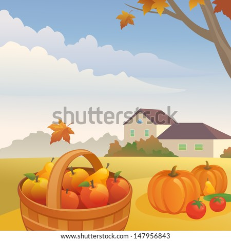 Vector illustration: autumn day at the farm