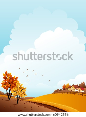 Vector illustration - autumn rural landscape with farm - stock vector