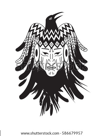 Vector illustration Aztec Mayan tattoo with indian face and feather.