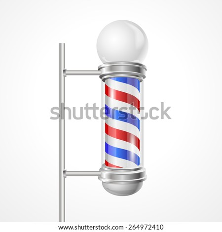 Vector illustration baber shop pole with lamp isolated on white.