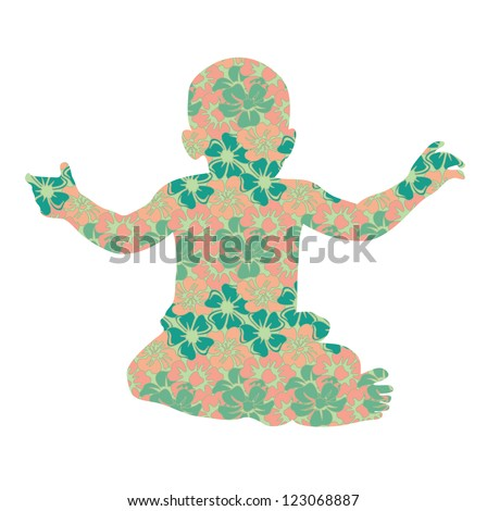 vector illustration baby silhouette in flowers