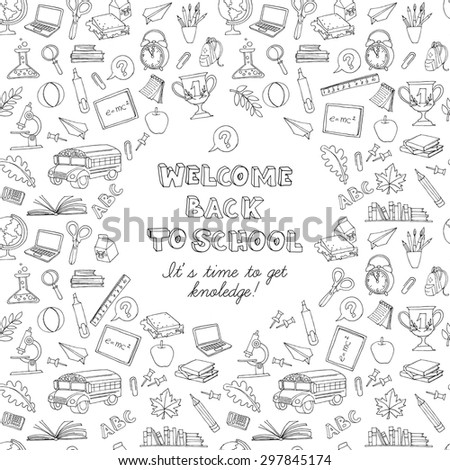 Vector illustration  Back to school greeting card of kids doodles with bus, books, computer, blackboard and world map . Black and white - stock vector