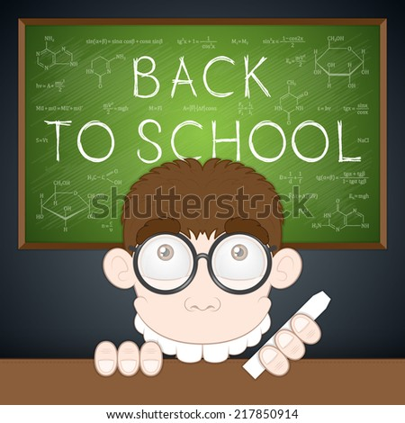 Vector illustration. Back to school. Happy cartoon boy and chemical, mathematical, physical formulas on green chalkboard with black background. Closeup. - stock vector