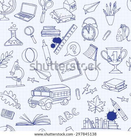 Vector illustration  Back to school seamless pattern of kids doodles with bus, books, computer, blackboard and world map on notebook grid sheet