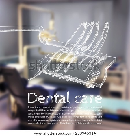 Vector illustration. Background - Blurred photo a dentist with a sketch - dental Instruments - stock vector