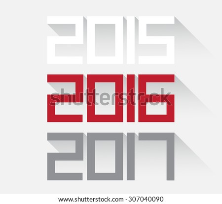 Vector illustration background Happy New Year 2016 - stock vector