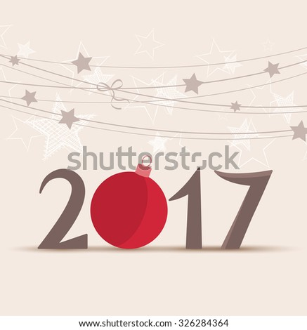Vector illustration background Happy New Year 2017 - stock vector