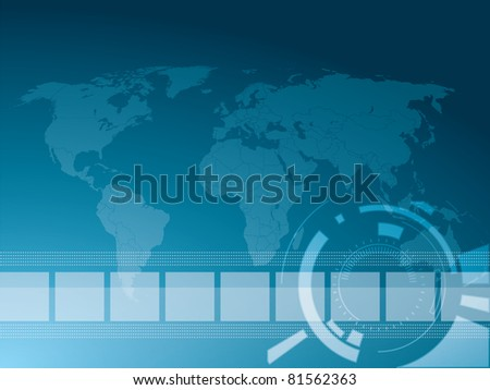 Vector illustration background in technology and the world map - stock vector