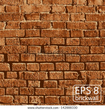 Vector illustration Background of an Old Brick Wall - stock vector