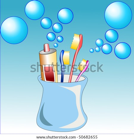 Vector illustration background of cleaning teeth product like toothpaste and toothbrushes for dental care