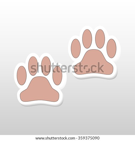 Vector illustration background of many paw - stock vector