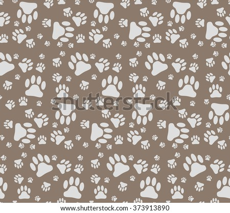 Vector illustration background of many pets paw - stock vector