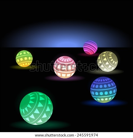 Vector illustration background of neon balls - stock vector