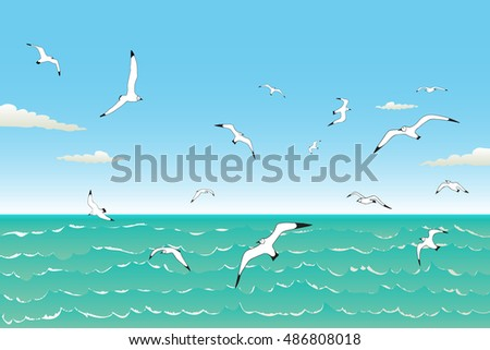 Vector illustration background of seagulls flying in the blue sky over the wavy sea