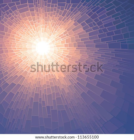 Vector illustration background of sun glow with rays in unclouded blue sky (stained glass window). - stock vector