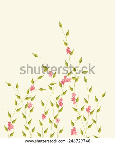 Vector illustration background with decorative branches and flowers - stock vector