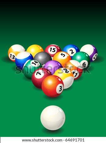 Vector illustration - background with pool balls - stock vector