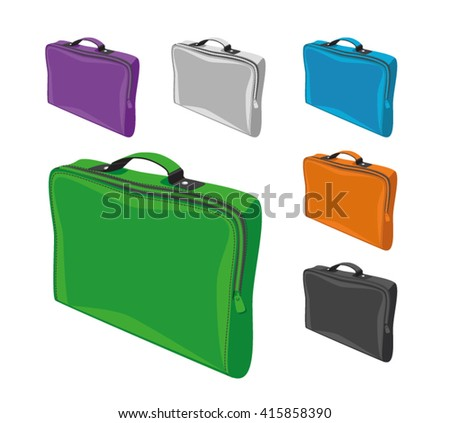 Vector illustration bags for documents and laptop in different colors: green, blue, orange, green, purple, black and white